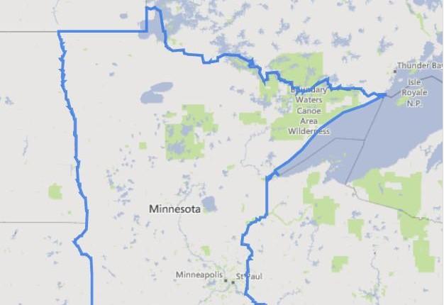 מפה של מדינת מינוסוטה