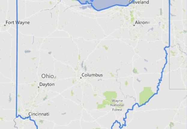 מפה של אוהיו