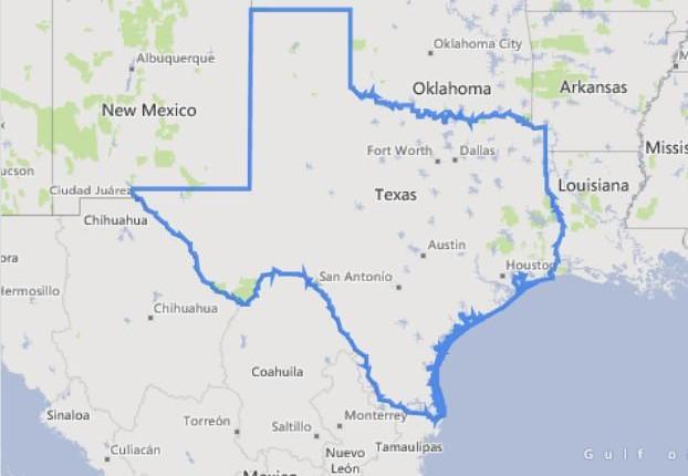מפה של מדינת טקסס